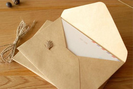 Wholesale Envelopes For Wedding Invitations - Wholesale-50pcs lot 16*11cm NEW Vintage Kraft DIY Multifunction envelope  Gift envelopes for wedding Kraft paper Wedding Party Invitation