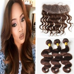 Wholesale Hair Chestnut - Medium Brown Lace Frontal Closure With Hair Bundles Color #4 Chestnut Brown Indian Body Wave Virgin Hair Weaves With 13*4 Lace Frontal