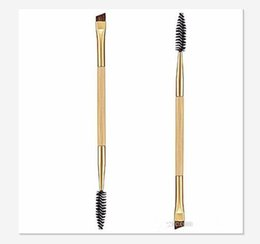 angle eyes Promo Codes - Beauty Girl 1PCS Makeup Bamboo Handle Double Eyebrow Brush + Eyebrow Comb Eye Definer Brush Professional Small Angle Brush