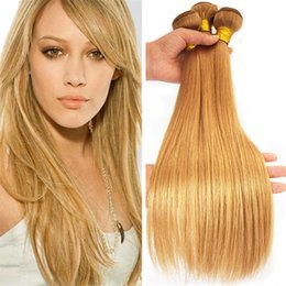 Wholesale Hair Extensions Dhl Free - Peruvian Virgin Hair 3 Bundles #27 Honey Blonde Straight Human Hair Weaves 300G 8A Strawberry Blonde Peruvian Hair Extensions Dhl Free