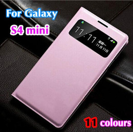 Wholesale Telephones Galaxy - Mobile Phone Case for Samsung Galaxy S4 mini i9190 Cute Luxury Flip Leather Case Etui Coque View Window Telephone Mobile AccessoriesMobile P