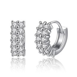 Wholesale Pave Hoops - Top Quality White Gold Color Double Rows Full Paved AAA+ Austrian Clear Crystal Hoop Huggie Earrings Fashion Jewelry Bijoux