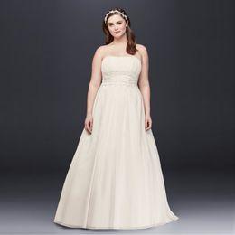 Wholesale Chiffon Strapless Empire Waist Dresses - Simple A-Line Waist Plus Size Wedding Dress Chiffon 2017 Strapless Empire Designer Open Back Bridal Gowns 9V9743