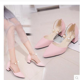 Wholesale High Heel F - 5.5cm female high heels 2017 summer spring and autumn new noble and elegant Korean wild with the students pointed women's shoes size 34-41 F