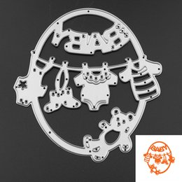 Wholesale Europe Photo Frame - 1pc Cute Baby Clothes Bear Metal Cutting Dies Embossing Template Stencils for DIY Scrapbook Album Frame Photo Cards Decor Crafts