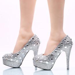 Rhinestone zapatos de boda plata de cristal plataforma de tacón alto mujeres zapatos de boda vestido de zapatos de novia magníficas bombas de dama de honor desde fabricantes