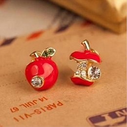 Wholesale Fashion Earrings Cheap - Hot sale Fashion lovely red drops of glaze asymmetric apple crystal stud earrings for women Cheap Jewelry Accessories Wholesale