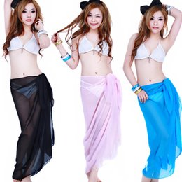 Wholesale Cheap Tunics Summer - Cheap Fashion Women Summer Solid Color Sexy Pareo Dresses Sarong Bikini Cover Ups Beach Scarf Tunic Swimwear 8 Color