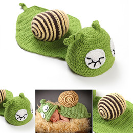 Wholesale Newborn Infant Photography Clothing - Baby Photography Props Cute Snail Set Newborn Boy and Girl Crochet Outfit Infant Coming Home Photo Props kids clothes Accessories