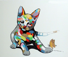 Wholesale Cat Hand Oil Painting - Framed Cat Kitten Playing Oil & Mixed Media Modern Pop Art,Hand-painted Cartoon Animal Art oil painting Canvas,Multi size Free Shipping J033