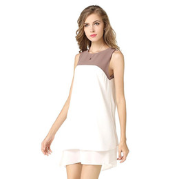 Wholesale Cute Simple Dresses - 2017 New Fashion Women Dress Spring Summer Patchwork O-neck Cute Comfortable Empire Sleeveless Chiffon Sexy Simple Slim Hot Dresses