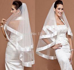Wholesale Trim Ribbon Wedding - 2016 Charming Bridal Veil Wedding Mantilla Wide Ribbon Satin Trim Edge 2 Layer White Tulle wedding accessories WW07