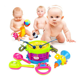 Wholesale Drum Music Instruments - 5Pcs Set Mini Musical Instruments Band Roll Drum Horn Music Toy Set Baby Grasp Hand Bell Drum Fun Early Educational Music Toy