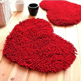 Wholesale Chenille Heart Rugs - Heart Shape Chenille Rug Non-slip Floor Mat for Wedding Valentine's Decoration Selection of 3 kinds of size 9 colors