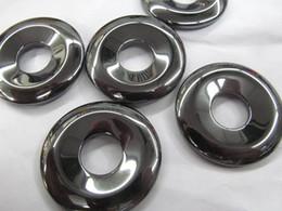 Wholesale Gemstone Focal - AA+ 12pcs 30mm Hematite Donut, Silver Gray Hematite Gemstone Pi Donut Focal Pendant Hemaite jewelry