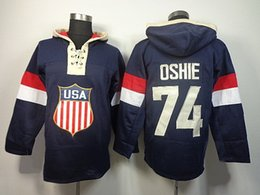 Wholesale Usa Hoodies - Hot Sale Mens 74 T. J. Oshie USA Best Quality Cheap Blue Embroidery Logos Sweatshirts Ice Hockey Hoodies Accept Mix Order Size S-3XL