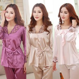 Wholesale Wholesale Plus Size Evening Wear - Wholesale- Women Pajamas Evening Wear Sexy Lingerie Spring Autumn Silk Sets Sleep Shorts Lady Nightdress Female Home Clothes Plus Size 3XL