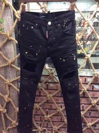 Wholesale Dark Wash Jeans - Fashion Brand Stripe Button DSQ Men Jeans Men New Frayed Men Straight Slim D2 Denim Pants Biker Leisure Washed Pants Jeans.