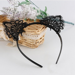 Wholesale Lace Cat Ears - Women Fashion Sexy Black Lace Cat Ears Headband Wedding Photography Portrait Style Hair Hoop Sales Well