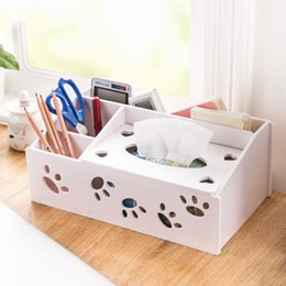 tv storage box Coupons - Wholesale- Creative Tissue Box TV Remote Controller Storage box Stationery Organizer Makeup Organizers