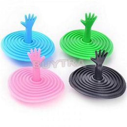 Wholesale Plastic Product Home - Wholesale- 1Pcs Cute Sink Plug Washroom Products,Lovely Hand Shape Water Rubber Sink Bathtub Stopper Home Decor