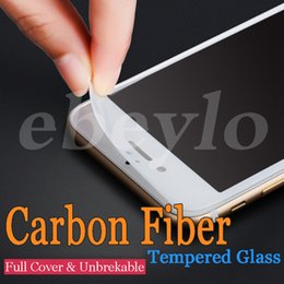 Wholesale Anti Glare Protectors - New iPhone 6 6S 7 Plus Carbon Fiber Soft Edge Tempered Glass Screen Protector Full Cover Film Anti Scratch 3D Curved