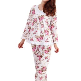 ladies long cotton nightgowns 2019 - Long Sleeved Ladies Pajamas Set Cotton  Pyjamas for Women Pijama 64f051ab5