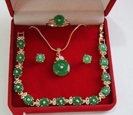 Wholesale Real Emerald Earrings - Pretty real nature green emerald jade crystal necklace bracelet earring