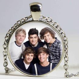 Wholesale One Direction Bands - 1pcslot One Direction Band Photo Pendants Necklace Cabochon Black Chain Statement Necklace For Fans