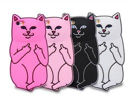 Wholesale Iphone Silicon Cat Cases - For Iphone X 3D Soft Silicon Cat Case Middle Finger Cat pocket Cartoon Animals Rubbe silicone Cover For iPhone 5S 4 6 6s 7 8 Samsung S8 S7