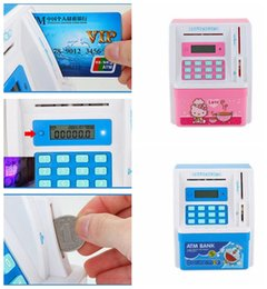Wholesale Atm Piggy Banks - Electronic ATM Money Bank Piggy Money Locker Coins Cashes Auto Insert Bills Safe Box Password ATM Bank Saver Children Gift KKA3076
