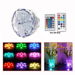 Wholesale Remote Control Tea Lights - Edison2011 3 Styles *10 LED Multicolor Pool Submersible Light 20 24 Key Remote Control Party Tea Floralytes Vase Base Light Blub Hot Led