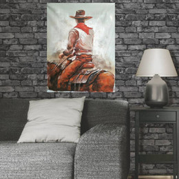Wholesale Cowboy Oil - Yi Le Mai Frameless Decorated Attractive Picture Art Paints on Canvas Hand Painted Oil Painting Wall Decoration West Cowboy