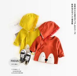 Wholesale Fox Coats - Ins New Euro Style girl kids long Sleeve round collar fox design sweatshirts + cap 100% cotton girl spring fall casual Outwear kids coat