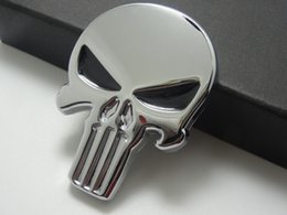 Wholesale Car Mirror Chrome Stickers - 3D Punisher Decal Chrome Car Metal Skull Sticker Car Decals Stickers Silver 10pcs Lot Free shipping