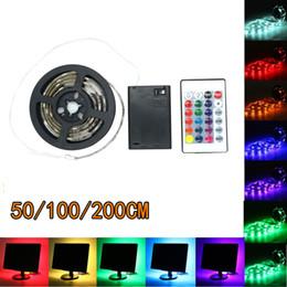 tiras de led impermeables bateria Rebajas Tira de LED 5050 SMD con pilas AA Tira de LED 5050 RGB RGB a prueba de agua Luces de tira flexibles LED Iluminación de iluminación