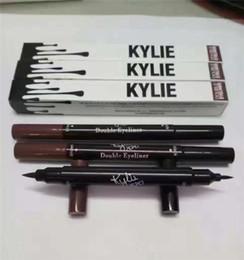 Wholesale End Tools - Kylie Double-end Waterproof Double Sided Liquid Eyebrow Pen Eyeliner Eye Liner Pencil Makeup Cosmetic Tools Black+Brown