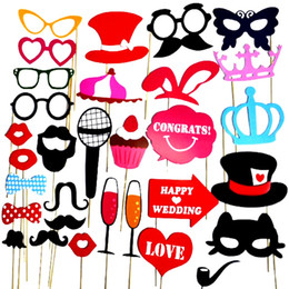 Wholesale Lips Mustache Decorations - Wholesale-Photo Booth 34Pcs Set Party Masks Photobooth Props Funny Lip Hat Mustache Supplie Birthday Wedding Party Christmas Decorations