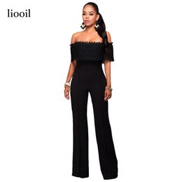 Wholesale Black Jumpsuit Boot Cut - Lace Patchwork Sexy Strapless Rompers Womens Jumpsuit Summer Short Sleeve Backless Boot Cut Bodycon Black Romper Overalls 17411