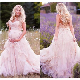 Wholesale Bridal Shower Fashion - Backless A Line Wedding Dresses Pregnant Organza Tiered Baby Shower Party Custom Made Fashion Sweetheart Bridal Gowns Pure Pink