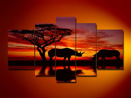 Wholesale Best Hand Painted Canvas - 100% Hand-painted Best-selling Quality Goods Wood Framed on the Back Cloud Forest Rhino Savanna High Q. Wall Decor Landscape Oil Painting on