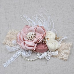 Wholesale Little Girls Wholesale Accessories - 2017 Little Baby Girls 3D Rosette Floral Headbands Toddler Lace Pearl Hairbands Babies Princess Feather Headwear kids accessories