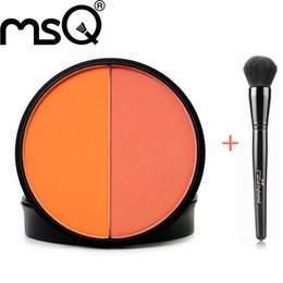 Argentina Wholesale- MSQ Makeup set doble colores en una paleta de colorete y negro se ruboriza conjuntos cosméticos cheap msq brushes Suministro