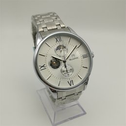 Wholesale Stars Watch Bands - New Automatic Mechanical Watch Men's Stainless Steel Band Multi Pin Watch Brand Hollow Design Star Watch