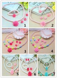 Wholesale Kids Pearl Jewelry Sets - Lovely Baby Girl's Imitation Pearls Beads Jewelry Rose Flower Necklace Bracelet Rings Earrings Set Children Kids Gift