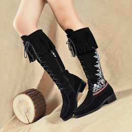 Wholesale Chinese Boots Flowers - National women's trend shoes vintage cheongsam hanfu chinese style genuine leather tassel embroidery boots 344243 plus size free shipping