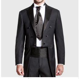 Wholesale Tuxedo Tails Images - Custom Made Black Groom Tailcoat Pant Suit Peaked Lapel Long Tail Men Wedding Suits Bridegroom Best Groomsmen Wedding Tuxedo AOP--015
