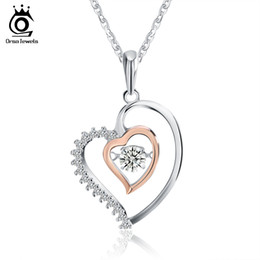 Wholesale Double Heart Gold Necklace - Genuine 925 Silver Double Heart Pendant Necklace with 0.3 ct Crystal Rhodium mixed Rose Gold Color Necklaces SN15