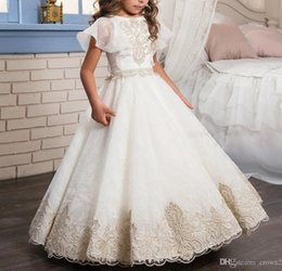 Wholesale Year 12 Formal Gowns - Fancy Lace Flower Girl Dress Gold Appliques Formal Christmas Ball Gowns Solid Pearl Zipper Pageant Dresses for Girls Glitz 0-12 Year