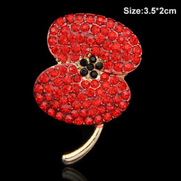 Wholesale Delicate Crystal Brooches - Bright Stunning Red Crystals Lovely Poppy Brooch Pins Delicate UK Remember Days Gift Pins Hot Selling Poppy Flower Buckle Pins Gold Tone